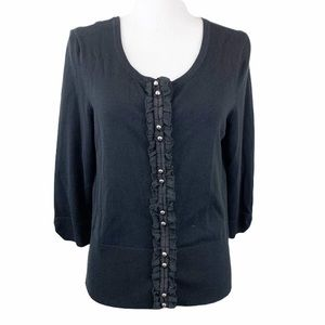 WHBM Snap Button Lace Detail Cardigan Sweater